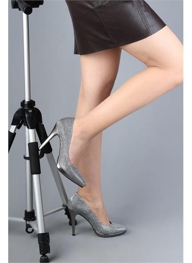 Modabuymus Modabuymus  Simli Platform Topuklu Stiletto Kadın Ayakkabı - Playk Gri